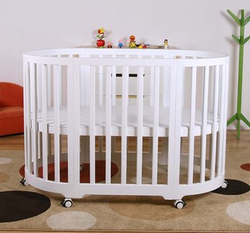 Non-toxic 3 in 1 kids bed modern solid wood cot adjustable baby crib