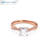 Tianyu Fashion Jewelry Manufacturers 1ct Diamond Moissanite Ring With Rose Gold
