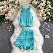 Вязаный жилет и шорты LUZUZI, женский костюм, топ без рукавов на кнопках, короткие штаны, комплект из двух предметов, лето 2020(Китай)