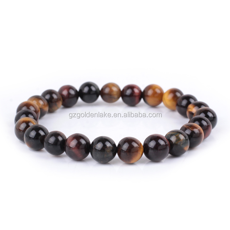Gemstone Beads Natural <strong>Tiger</strong> <strong>Eye</strong> Round <strong>Bracelet</strong> <strong>Red</strong> Yellow Blue