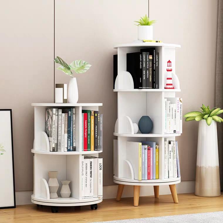 TMJ-2050 Custom Modern Home Wood White Revolving Storage Holders Racks Rotating Bookcase Book Shelf