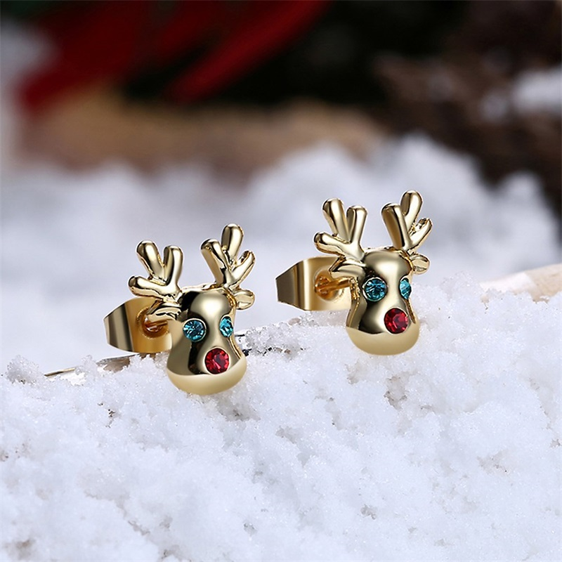 Christmas Stocking Red Enamel ROSE Gold Stud Earrings