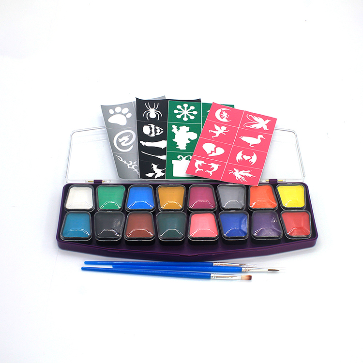 Halloween Water based washable private label body painting supplies 16 color makeup face body paint palette for kid