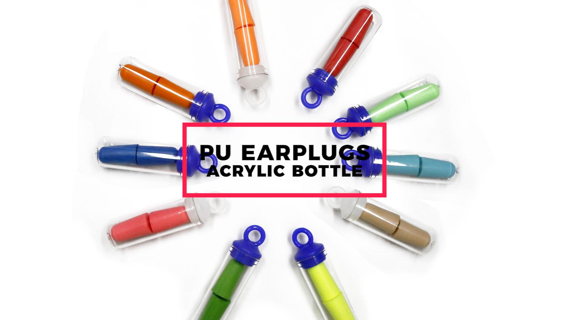 38dB OEM/ODM snorig PU foam earplugs for noise reduction with plastic bottle