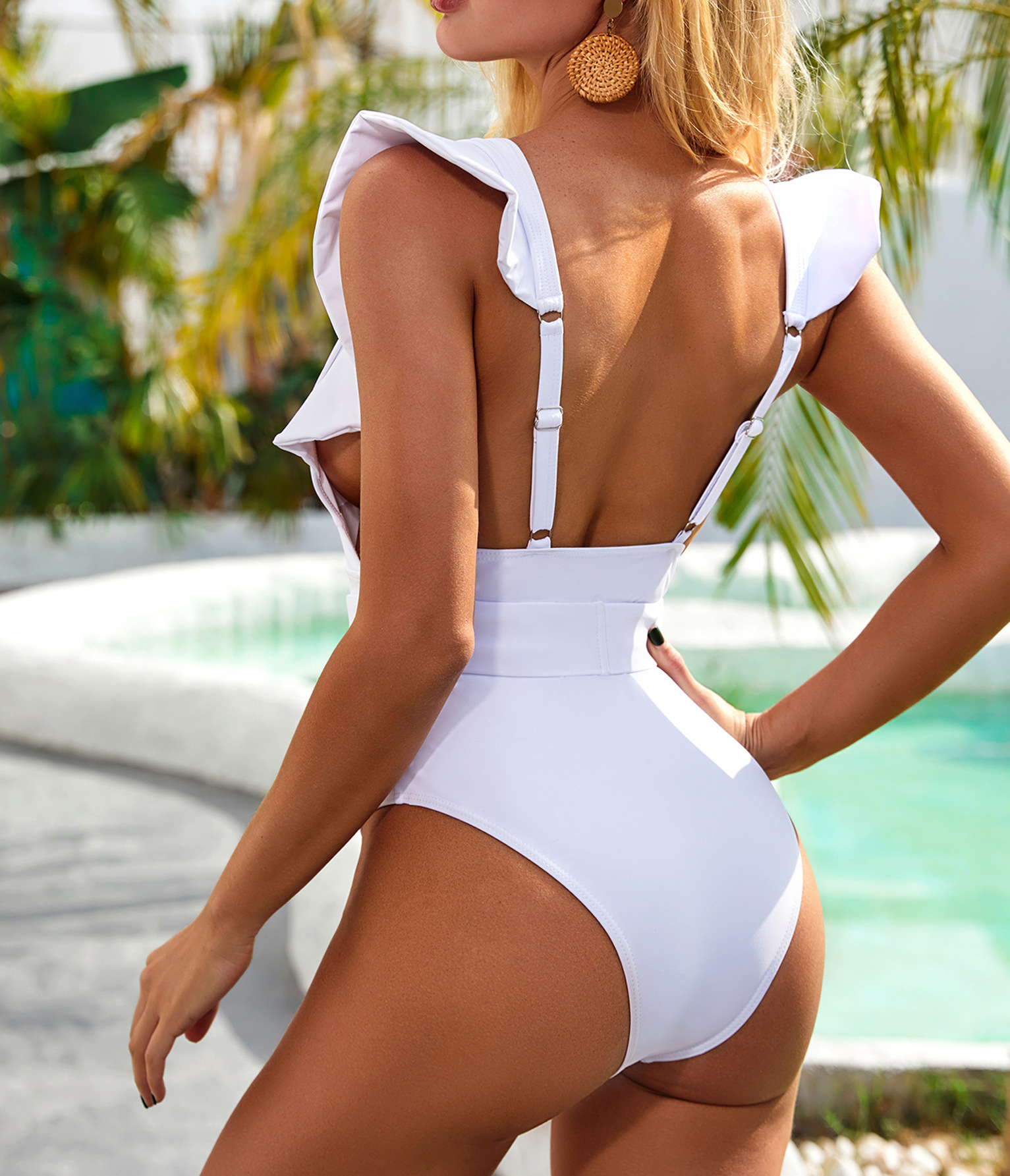New Women's V Neck One Piece Swimsuit Ruffled Back Cross Swimwear