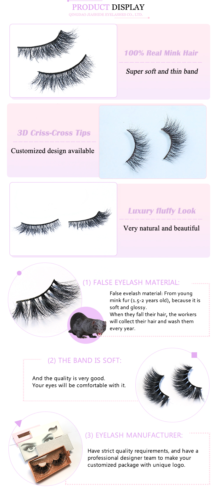OEM factory 3d mink eyelash and custom package 3d long thick mink eyelashes mink fur lashes