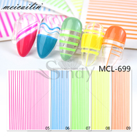 Colorful Striped Tape Line 3D Nail Art Adhesive decals Sticker