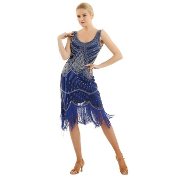 Sleeveless V-Neck Bead Shiny Sequins Fringed Tassels Hem Flapper Woman Cocktail 1920s Dress