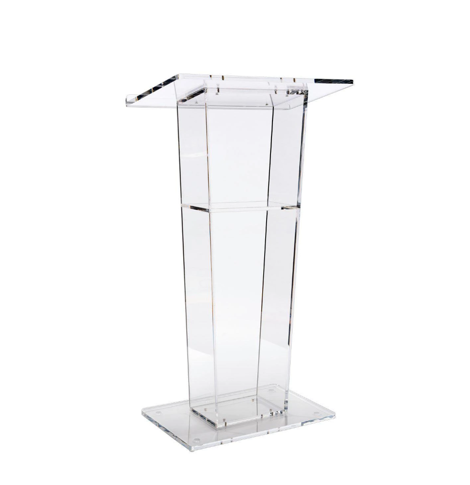 High Quality Clear Acrylic Lectern With Open Back And Shelf