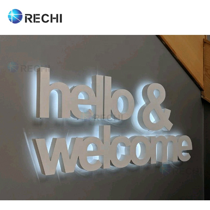 RECHI Advertising Light Shop Signage 3D Led Illuminated Sign Backlit Channel Sign Letters With Brushed Stainless Steel Face