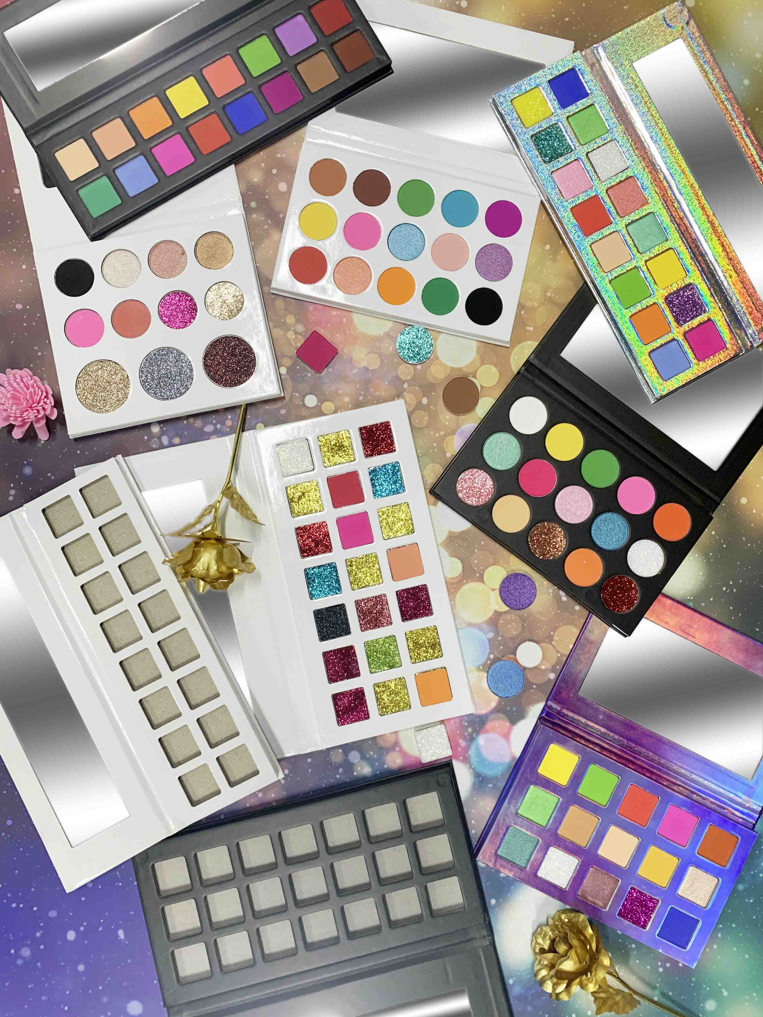 custom high pigment private label cosmetics makeup eyeshadow palette manufacturer