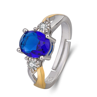 Hot women Natural Tanzanite Sapphire stone gold jewelry Rings