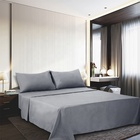 Home Textile Bed Sheet Solid Color Brushed Microfiber Fabric 4 Pcs Fitted Bed Sheet
