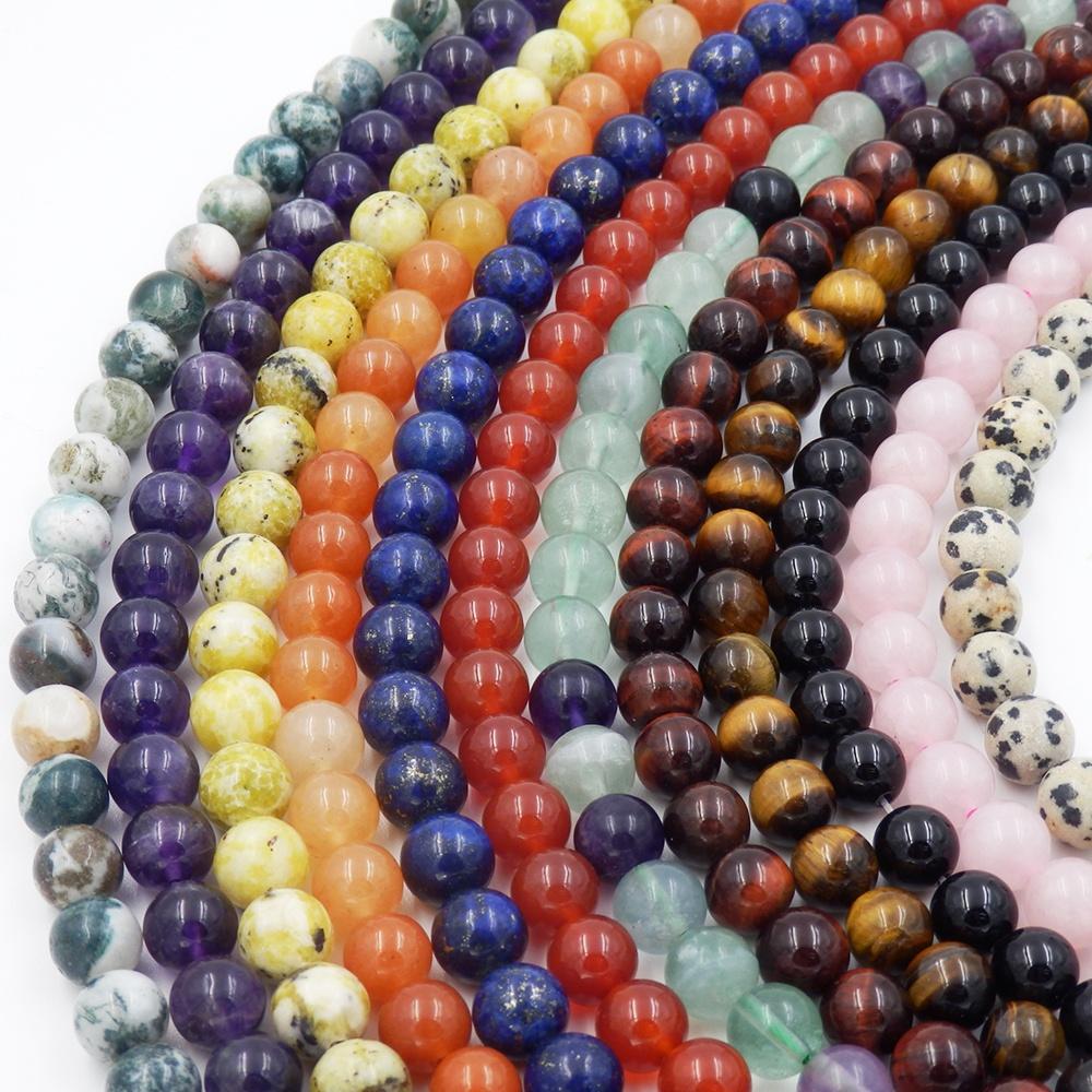 Wholesale gemstone strands rose quartz onyx tiger eyes lapis lazuli howlite lava amethyst natural stone beads for jewelry making
