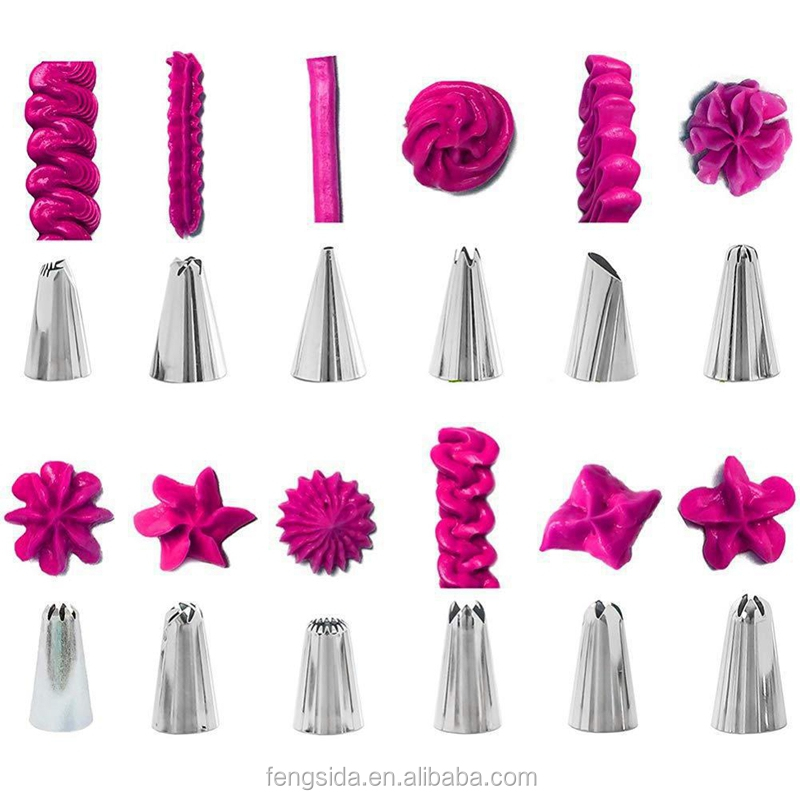 83 Piece Pink Kitchen Accessories Icing Piping Cream Pastry Bag With Stainless Steel Nozzle DIY Cake Decorating Tips Set