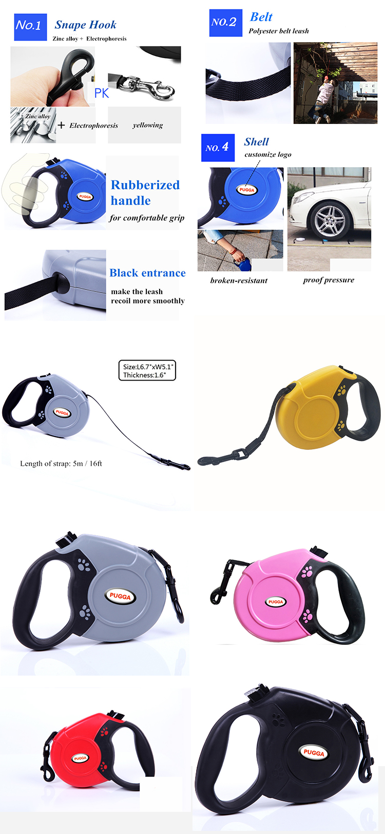 Wholesale Custom Chew Proof Retractable Automotive Pet Accessory 50 Foot Dog Leash for Jogging