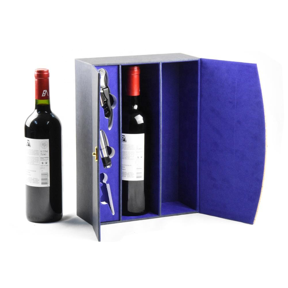 Custom vintage portable double bottle leather wine box gift set with lock