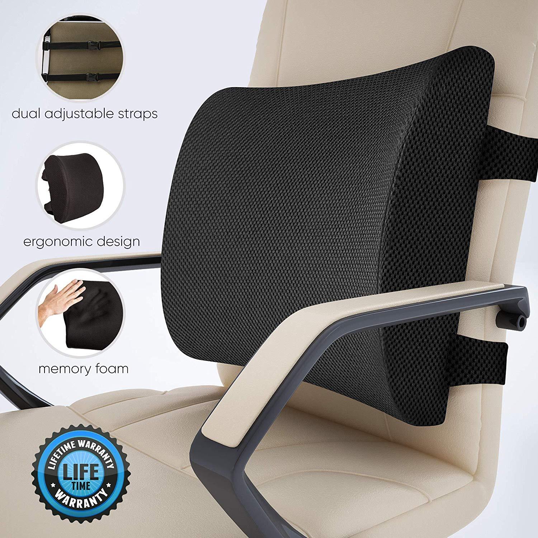 Kantor Kursi Lumbar Back Pain Relief Bantal dengan Tali Ganda