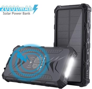 OEM High quality Waterproof wireless Solar Power Bank 20000mah for Mobile phone
