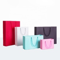 Personalized Custom Logo Pink Paper Shopping Paper Bags With Handles