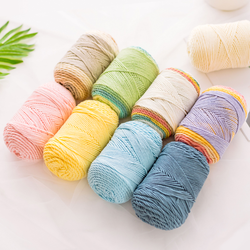 YarnCrafts Beautiful Crochet Hand Knitting Natural Rainbow Cake Cotton Blended Yarn with 5 Ply Scarf pillow