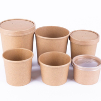 Disposable Hot Soup Paper Cup with Lid,Custom Kraft Paper Cup