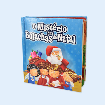 Child colorful Christmas board book with pocket at back