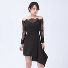Latest Design Black Elegant Off Shoulder Long Sleeve Casual Dresses Party Evening Lace Bodycon Dress