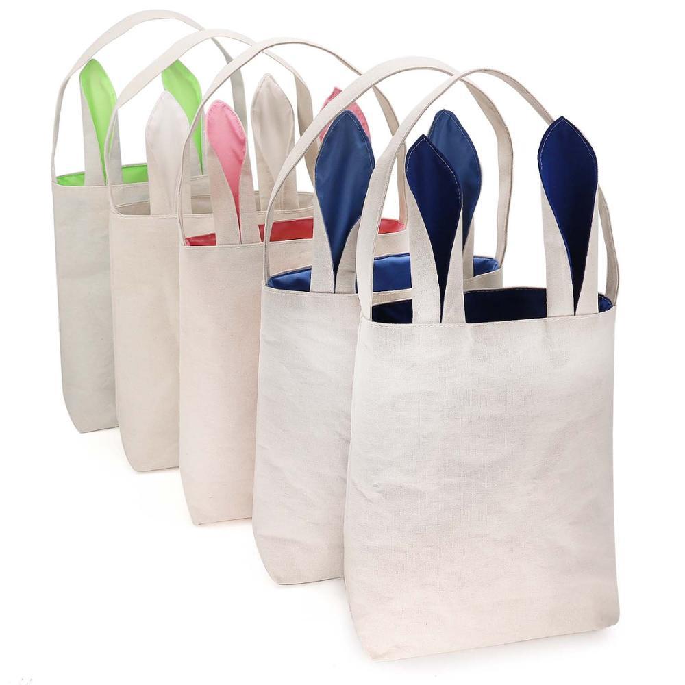 Kids Paashaas Konijn Canvas Mand Jute Shopping Tassen Decoraties Handtassen Met Kleurrijke Oor