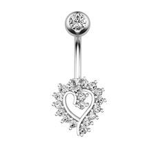 Модное кольцо из нержавеющей стали, с украшением в виде кристаллов кольцо для пупка с милыми сердечками и Форма пирсинг-серьги для пупка кол...(Китай)