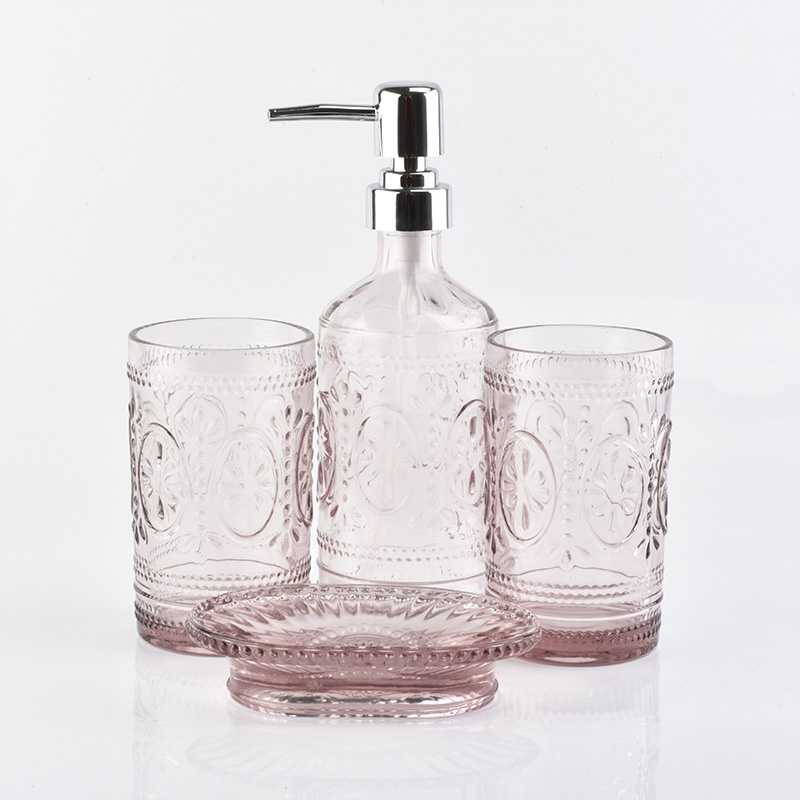 Simply Pink Color Tumbler Soap Dish Glass Bathroom Accessories Sets Buy Glass Bathroom Accessories Sets Color Tumbler Glass Glass Soap Dish Product On Alibaba Com