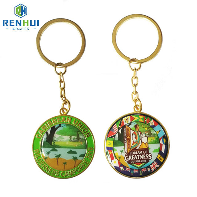 Wholesale exquisite personality novelty custom embossed 3d metal flip-flops souvenir keychain