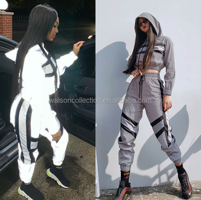 Ecoparty Women fashion Streetwear Reflective tracksuit 2 piece set Women Crop Top Summer Cool hooded top cargo pants reflective