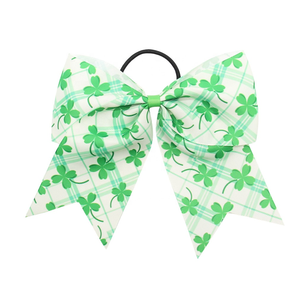 St.Patrick's Day Boutique Green Clover Cheer Bow Glitter Hair Bow With Tie