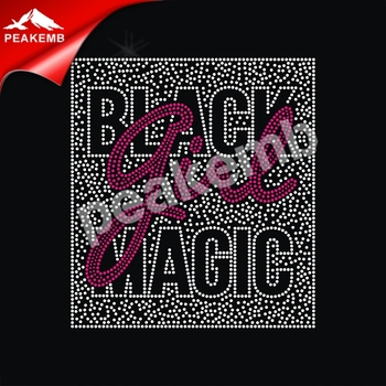 Black Girl Magic Custom Hot Fix Rhinestone Transfer Designs For T Shirt