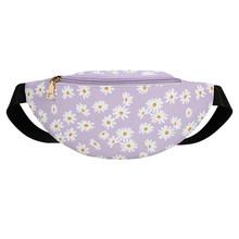 Женская поясная сумка Daisy Flower Fanny, классическая сумка из искусственной кожи на молнии, простая сумка через плечо(Китай)