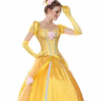 Fantastique Nouvelle Robe De Princesse Belle Robe Jaune Cosplay Costume De VG-54