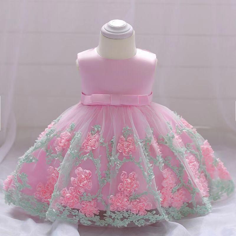 70cm 80cm 90cm nouveau-né bébé fille robes de princesse dentelle fleur nœud mignon robe de fête d'anniversaire