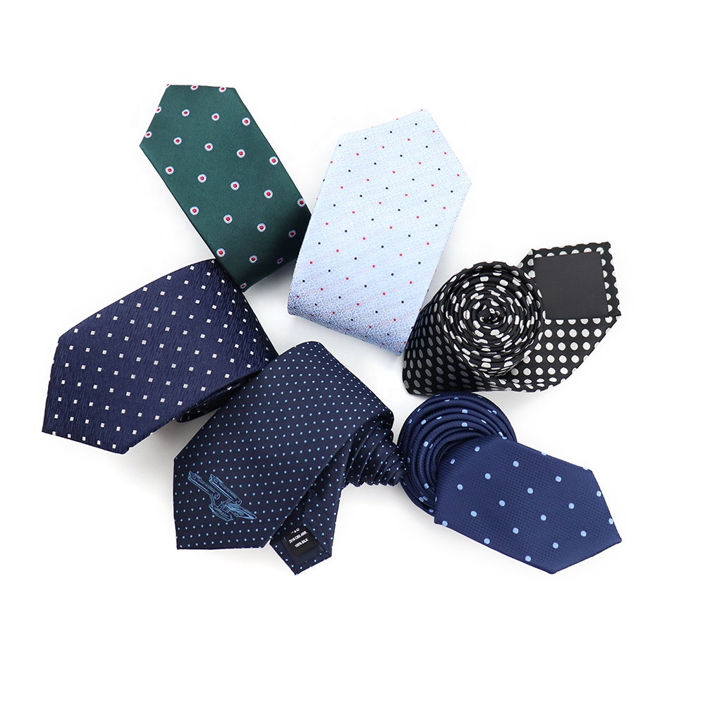 XINLI Blue Classic Jacquard Handmade Neckties 100% Silk White Polka Dot Woven <strong>Tie</strong> Custom Pattern Black Italian <strong>Ties</strong> Wholesale