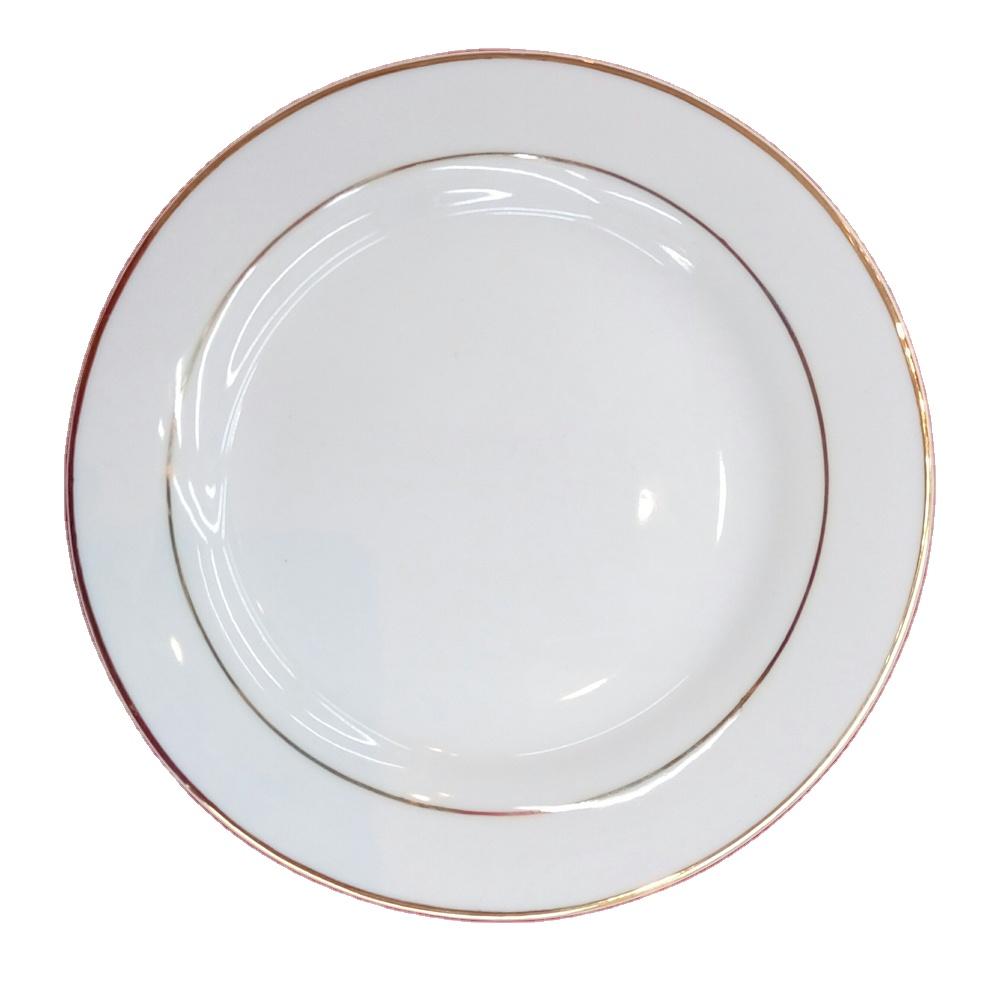 Оптовая фарфоровая белая тарелка с золотым ободом плоская тарелка посуда