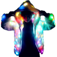 LED Luminous Faux Fur Coat Lady Bar Dance Show Nightclub Clothes, DJ Costumes. Christmas Halloween Party Cospaly Suit