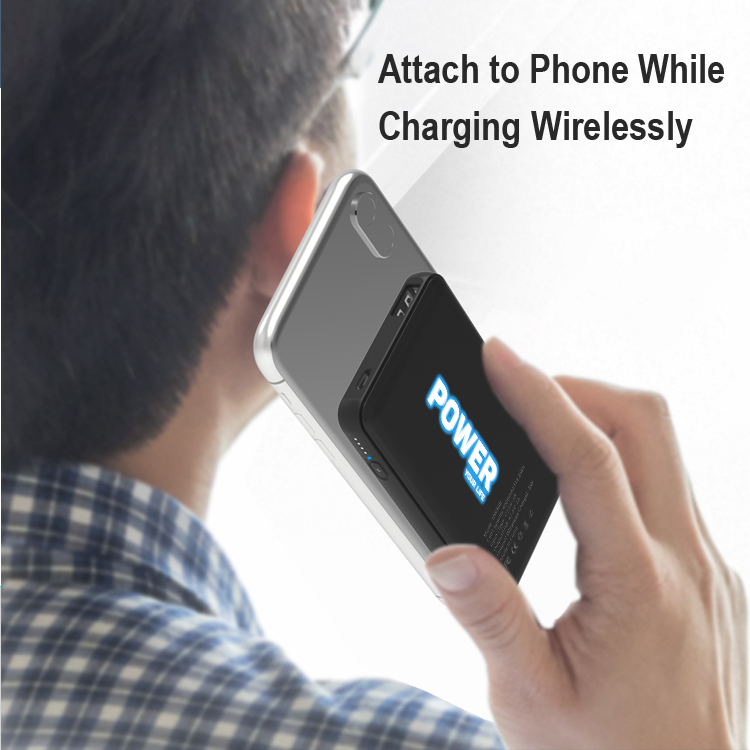 4000mAh LED Lighting Wireless Power Bank with Suction Cups for Gift