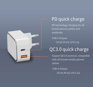 KC CE FCC certificate 2019 new two port USB-C PD type-c wall charger usb quick charger