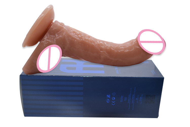 FAAK sex shop 8.27 inch long 1.77 inch width adult toy dildo long anal dildo curved g spot realistic dildo for women men g sopt