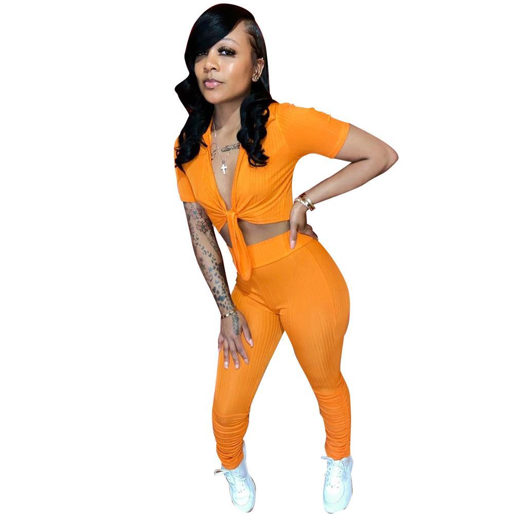 2020 สินค้าใหม่แฟชั่นผู้หญิงลำลองสั้นแขนเข็มขัด Crop เสื้อจีบซ้อนกางเกงขายาว 2 ชิ้นชุด Tracksuit