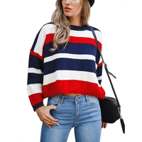Top Selling Multicolor Stripped Women Knitted Oversized Sweater