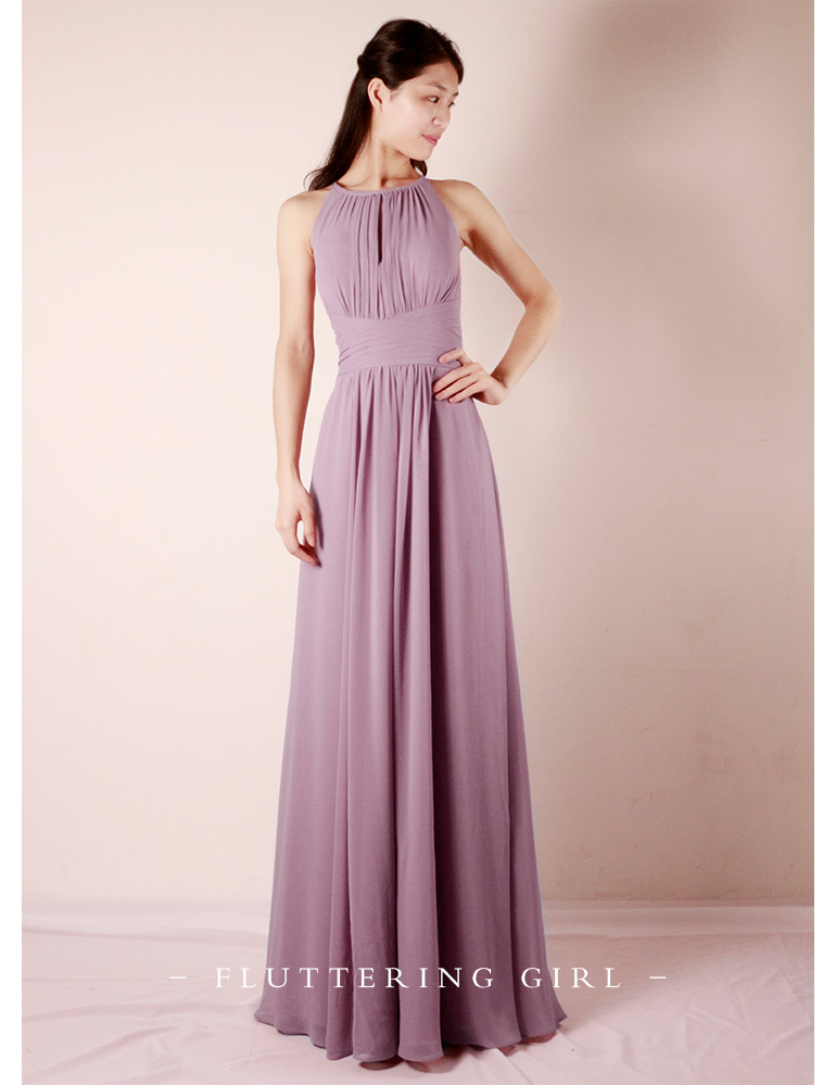 2020 Romantic Purple Halterneck Long Length Pleated Chiffon Bridesmaid Dress Formal Evening Party Ball Prom Cocktail Dress