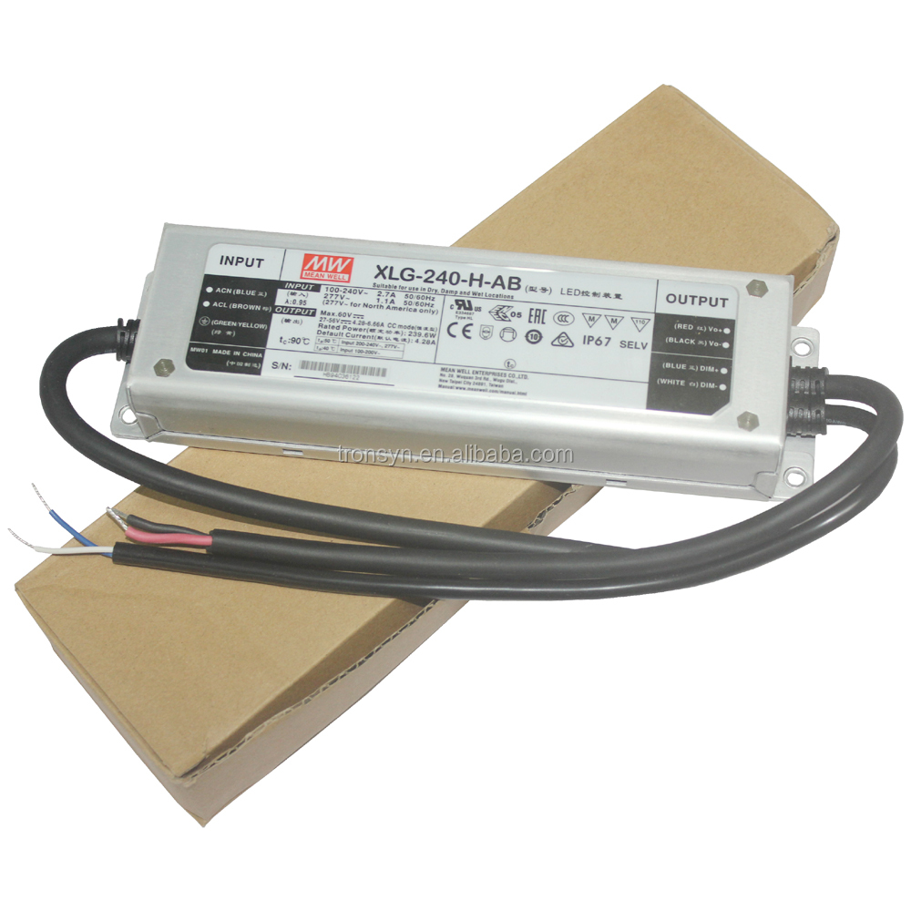 Meanwell Authorized XLG-240-H-AB 240W Waterproof Dali Dimmable LED Driver Built-in 3 in 1 Dimming Function