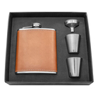 Svin 7 Oz Brown Leather Pocket Drinking Flask Hip Flask Gift Set