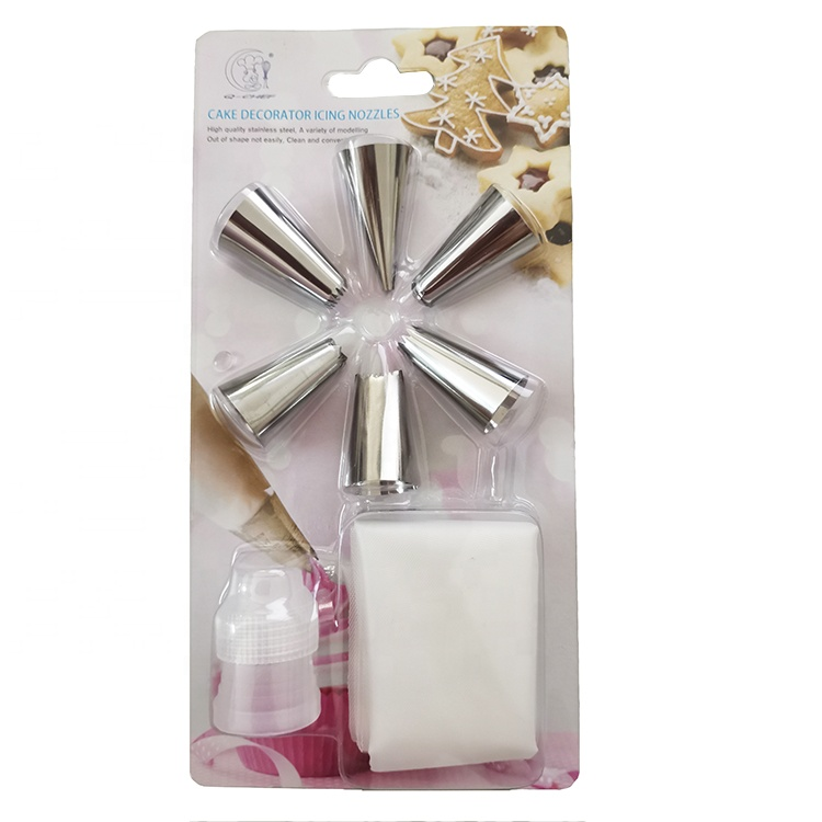 8 Pieces Cake Decorator Icing Nozzles Pastry Piping Bags Set Cake Decorating Tools Kits